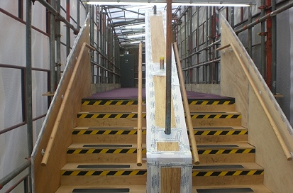 A staircase fabrication scaffold erected in Hoddeson.