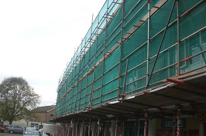 An example of pavement pedestrian protection scaffolding erected according to London Borough of Enfield council regulations.
