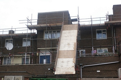 A wooden chute erected for Thurrock Council under their regeneration program.