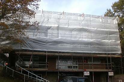 A monoflex sheeted beamed independent scaffold for a temporary roof at Roxwell, Chelmsford.